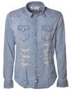 """Aglini """"camicia jeans tela strappata"""" Camicia"""