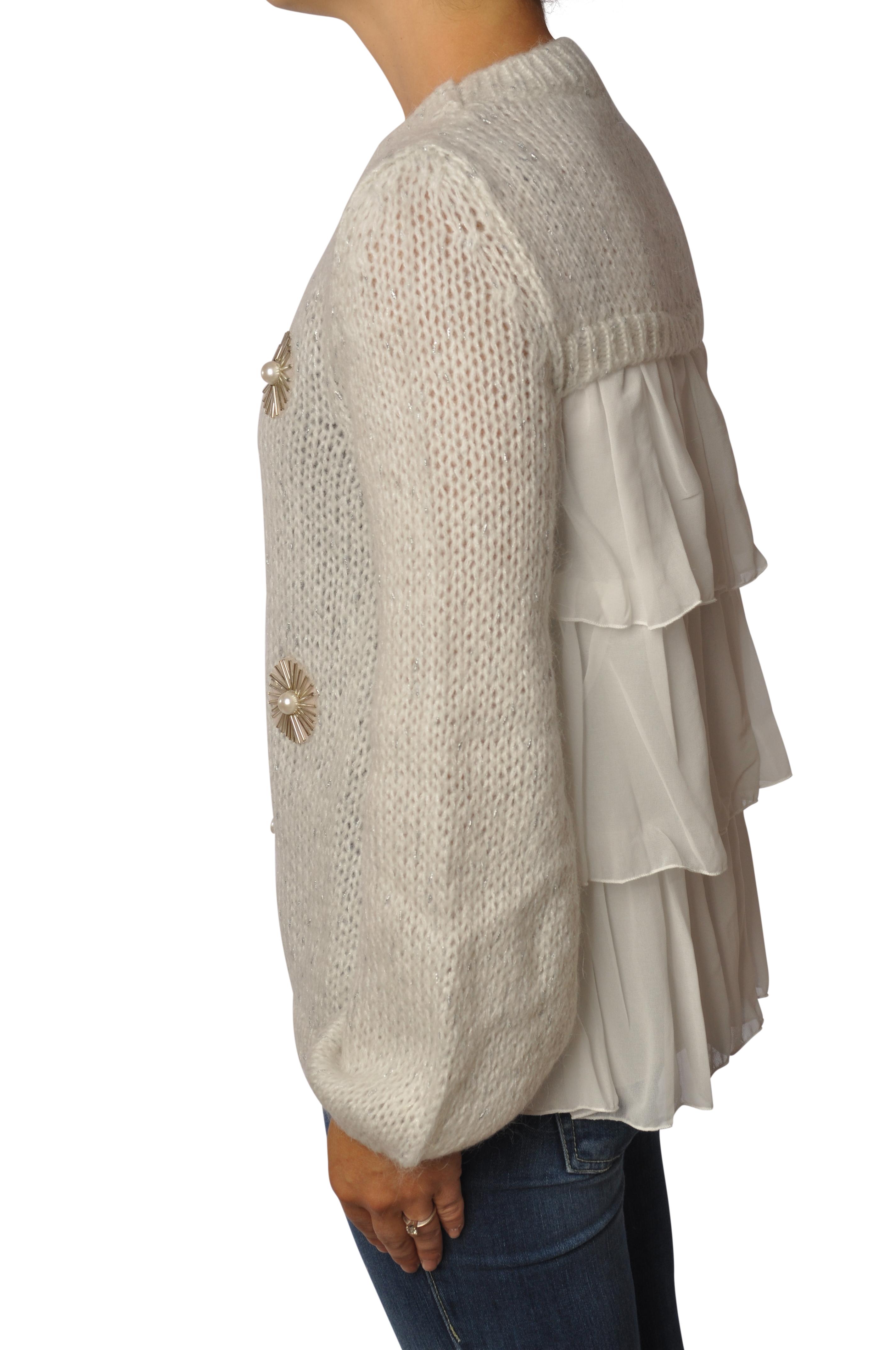 """Ki 6 """"maglia con inserto perle e castoni"""" Pullover"""