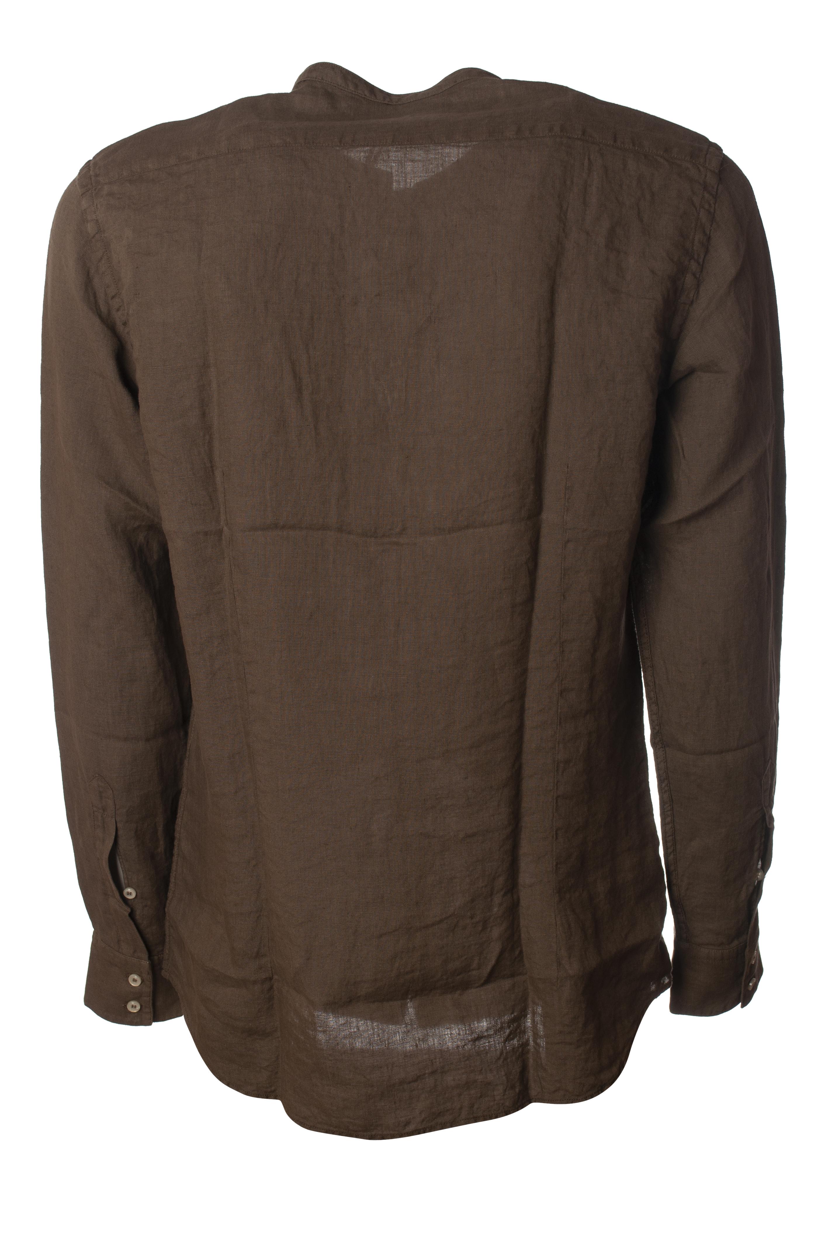 Dettagli su Paolo Pecora Camicie Camicie coreana Uomo Marrone 6083530F191923